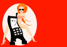 Gprs service. Vector image of cellphone and woman. good use for gprs service cards Stock Images