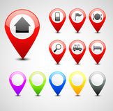 GPS别针集合 库存图片
