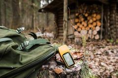 GPS导航员在森林里 免版税库存图片