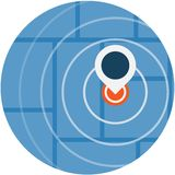 GPS导航员Pin蓝色颜色象标志 免版税库存图片