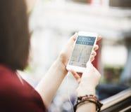 GPS旅行导航员查寻技术指南概念 免版税库存照片