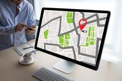 GPS översikt till gatan för läge för anslutning för ruttdestinationsnätverk Royaltyfria Foton