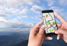 GPS översikt till gatan för läge för anslutning för ruttdestinationsnätverk Fotografering för Bildbyråer