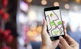 GPS översikt till gatan för läge för anslutning för ruttdestinationsnätverk Arkivbild