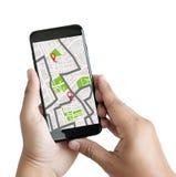 GPS översikt till gatan för läge för anslutning för ruttdestinationsnätverk Arkivfoton