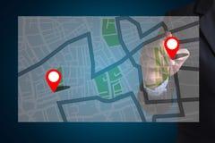 GPS översikt till läge för ruttdestination, gataöversikt med GPS symboler Arkivbilder