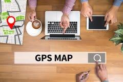 GPS översikt till läge för ruttdestination, gataöversikt med GPS symboler Royaltyfri Fotografi