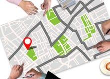 GPS översikt till läge för ruttdestination, gataöversikt med GPS symboler Royaltyfri Foto
