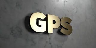Gps - знак золота установленный на лоснистой мраморной стене - 3D представили иллюстрацию неизрасходованного запаса королевской в Стоковое Изображение