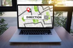 GPS составляет карту к улице положения сетевого подключения назначения трассы Стоковое Фото