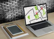 GPS составляет карту к улице положения сетевого подключения назначения трассы Стоковая Фотография