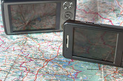 Gps. Ppc with function of the navigator close up against a map Royalty Free Stock Photography