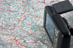 Gps. Ppc with function of the navigator close up against a map Stock Photo