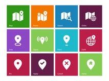 在颜色背景的地图象。GPS和航海。 免版税库存照片