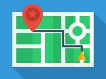 Взгляд сверху карты GPS Стоковые Фото