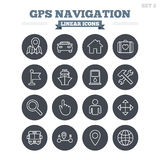 Установленные значки навигации GPS линейные Тонкий план Стоковые Изображения RF