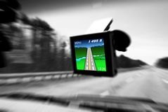 GPS. Device on front windshield Stock Photography