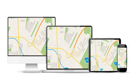 GPS Abstract generic city map with roads, Stock Image