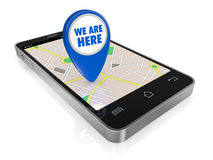 Gps application. One smartphone with a gps map and a pointer with text: we are here (3d render Stock Photo
