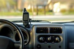 GPS auf Armaturenbrett Stockbild