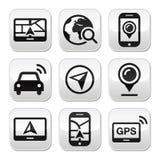 GPS, bottoni di viaggio di navigazione messi Immagini Stock