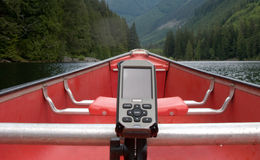 GPS and canoe paddling Royalty Free Stock Images