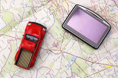 GPS and car on map Royalty Free Stock Photos