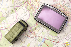 GPS and car on map. GPS - global positioning system and car on map Royalty Free Stock Photos