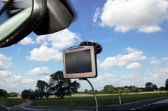 GPS on car window Royalty Free Stock Photos