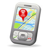 GPS on cell phone. With map pin marker royalty free illustration