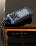 GPS che uploading al calcolatore fotografia stock