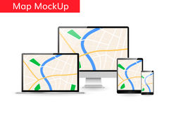 Gps city map on computer laptop tablet screen Responsive design mockup Stock Photography