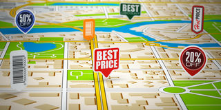 GPS city map with price labels. Concept of sale and shopping. Stock Image