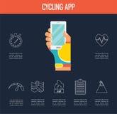 Gps computers en apps voor fiets en het cirkelen vector illustratie