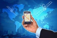 GPS con el teléfono elegante Fotos de archivo