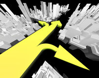 Gps concept. Three arrows showing various directions in abstract city vector illustration