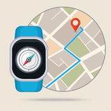 Gps concept in flat style. Smart watch navigator Stock Photo