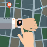 Gps concept in flat style. Smart watch navigator Stock Image
