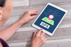 Gps concept on a tablet stock photos