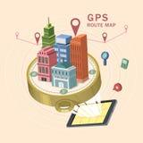 GPS-3d isometrische infographic van de routekaart Stock Foto