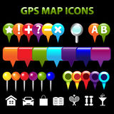 GPS de Pictogrammen van de Kaart Stock Foto's