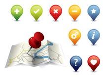 GPS de reeks van het Pictogram Stock Fotografie