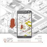Gps del cellulare e concetto di inseguimento Pista app di posizione sullo smartphone dello schermo attivabile al tatto, sulla map Immagine Stock Libera da Diritti