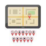 GPS device with geo pin icons Royalty Free Stock Image