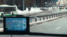 GPS device showing the way in city stock footage