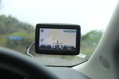GPS display on car windshield Stock Images
