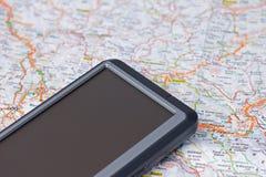 Gps do carro e mapa Fotografia de Stock