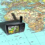 Gps e mapa Foto de Stock