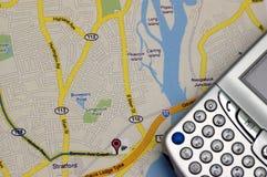 GPS e mapa Foto de Stock Royalty Free