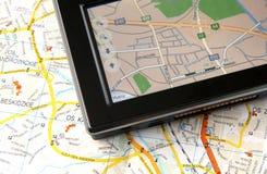 GPS e mapa Imagens de Stock Royalty Free